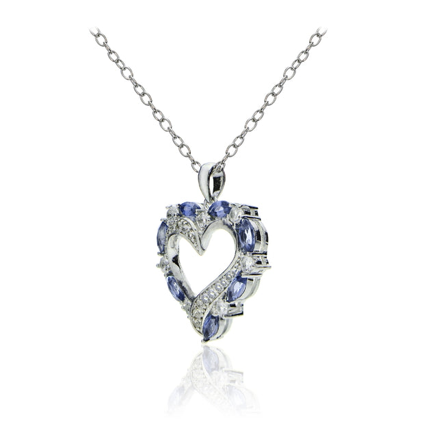 Sterling Silver 1.35ct Tanzanite & White Topaz Open Heart Pendant