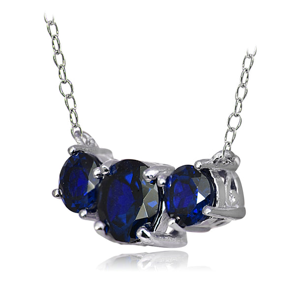 Sterling Silver Created Blue Sapphire Three Stone Necklace