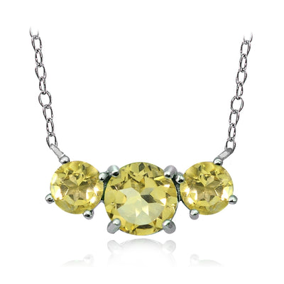 Sterling Silver Citrine Three Stone Necklace