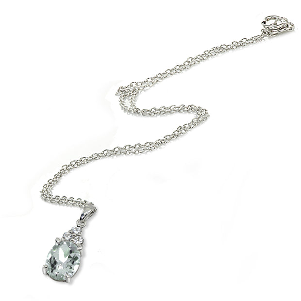 Sterling Silver Aquamarine and White Topaz Oval Pendant Necklace