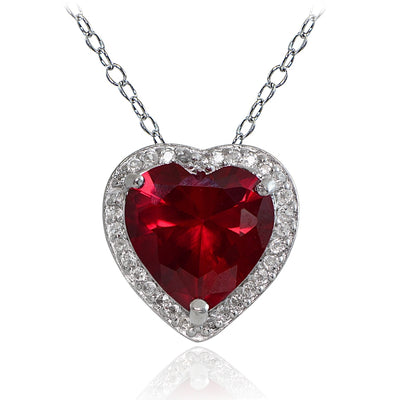 Sterling Silver 4.15ct Created Ruby and White Topaz Heart Necklace