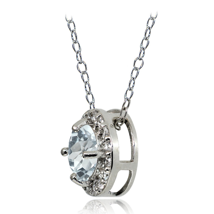 Sterling Silver Aquamarine and White Topaz Round Halo Necklace