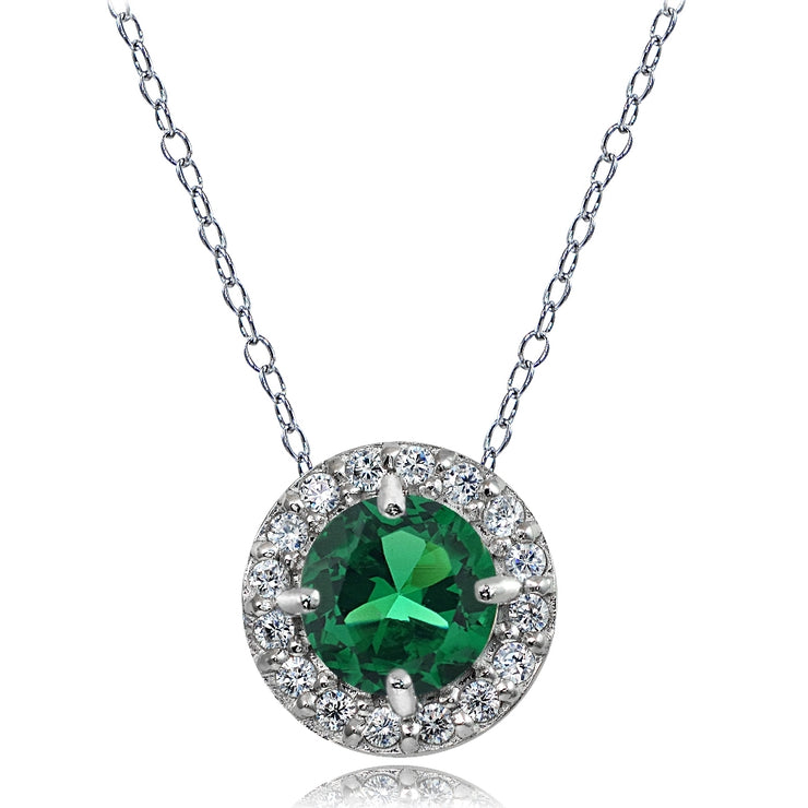 Sterling Silver Created Emerald and White Topaz Round Halo Necklace