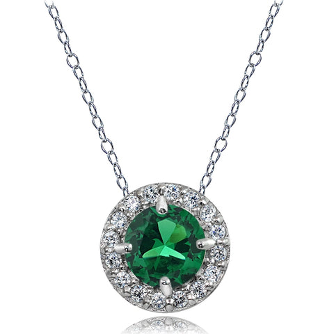 Sterling Silver Simulated Emerald and White Topaz Round Halo Necklace
