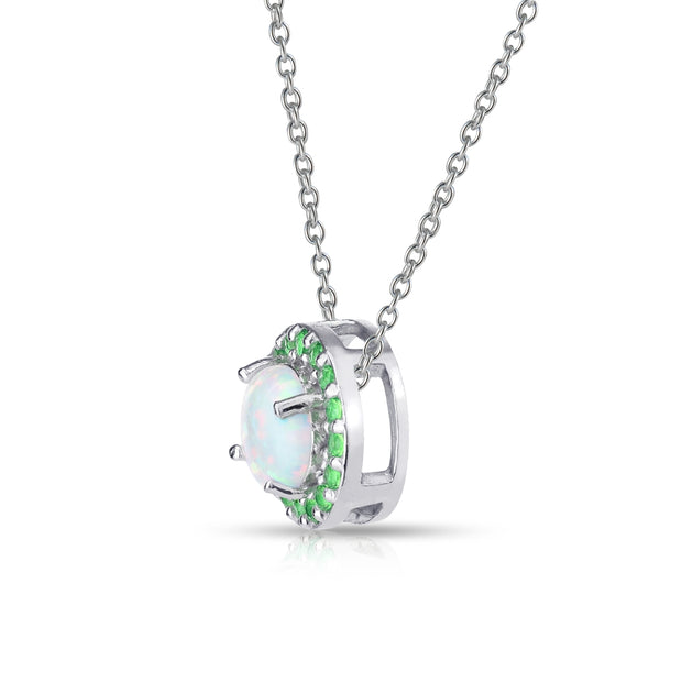 Sterling Silver Simulated White Opal and Emerald Round Halo Necklace