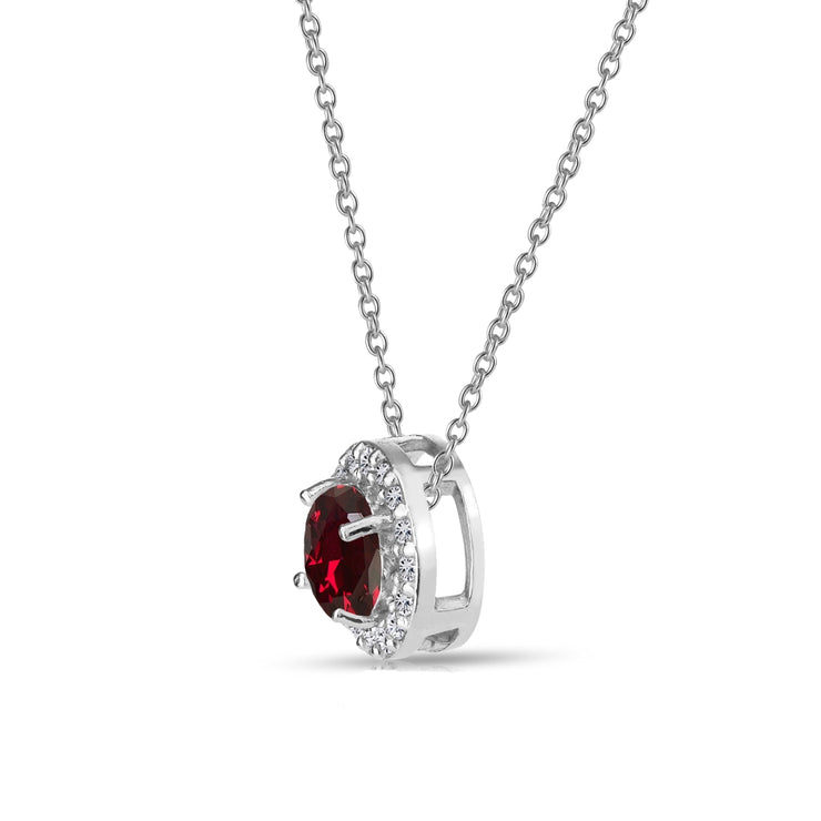 Sterling Silver Created Ruby and White Topaz Round Halo Necklace