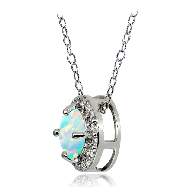 Sterling Silver Simulated White Opal and White Topaz Round Halo Necklace