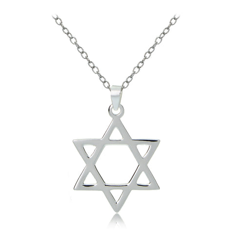 Sterling Silver Star of David Polished Necklace