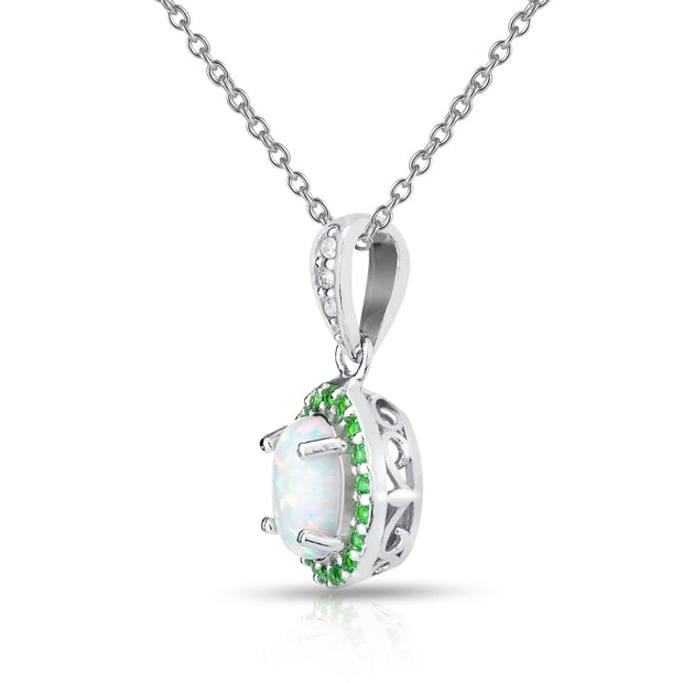 Sterling Silver Created White Opal and Emerald Oval Halo Necklace