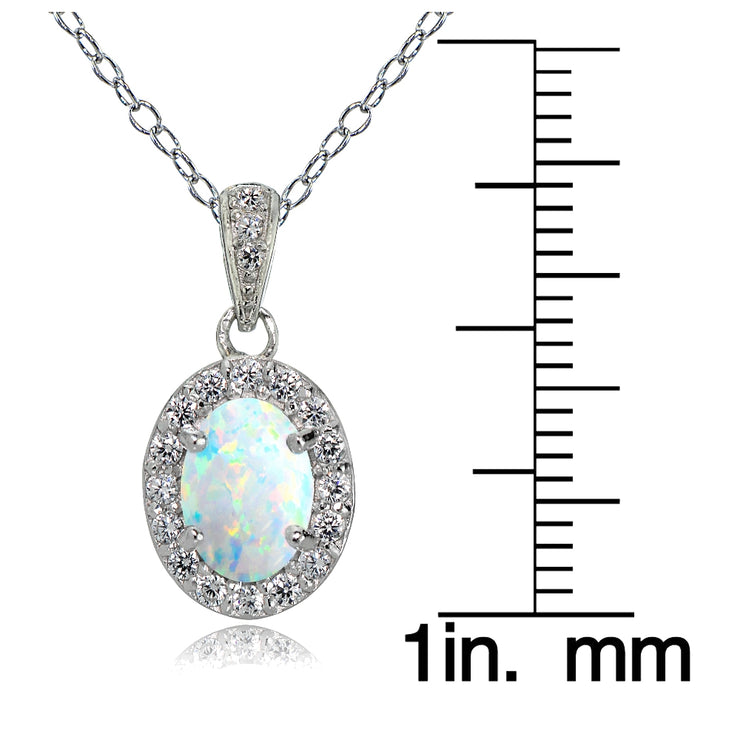 Sterling Silver Created Opal and White Topaz Oval Halo Necklace
