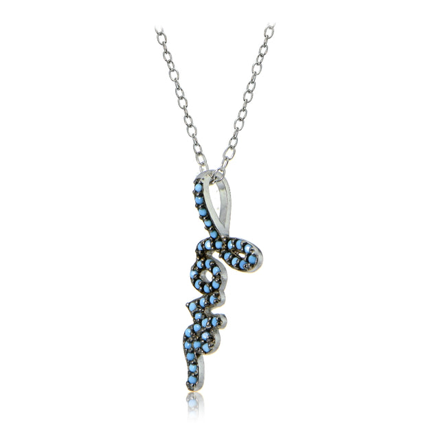 Sterling Silver Nano Created Turquoise Love Necklace
