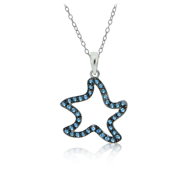 Sterling Silver Nano Created London Blue Topaz Starfish Necklace