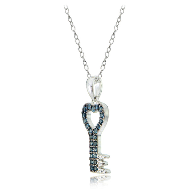 Sterling Silver Nano Simulated London Blue Topaz Heart Key Necklace