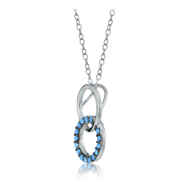 Sterling Silver Nano Created Turquoise Double Circle Necklace