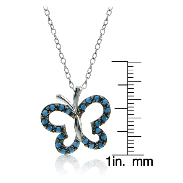 Sterling Silver Nano Created Turquoise Butterfly Necklace