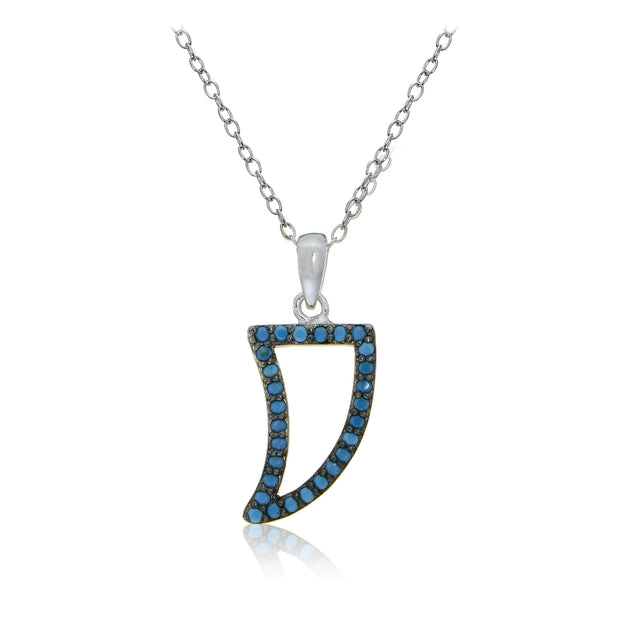 Sterling Silver Nano Created Turquoise Horn Necklace