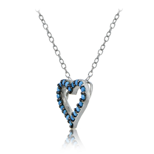 Sterling Silver Nano Created Turquoise Open Heart Necklace