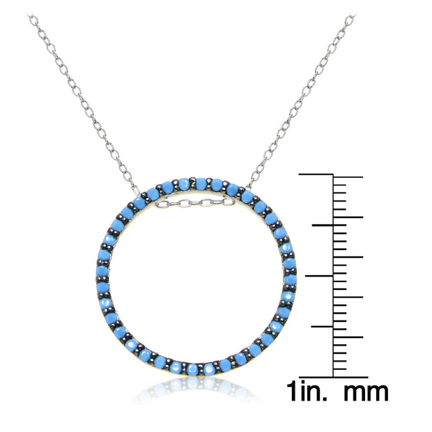 Sterling Silver Nano Created Turquoise Circle Necklace