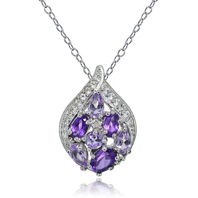 Sterling Silver  African Amethyst and White Topaz Cluster Tonal Teardrop Necklace