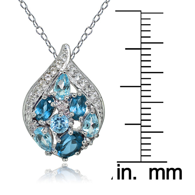Sterling Silver London Blue, Swiss Blue and White Topaz Cluster Tonal Teardrop Necklace