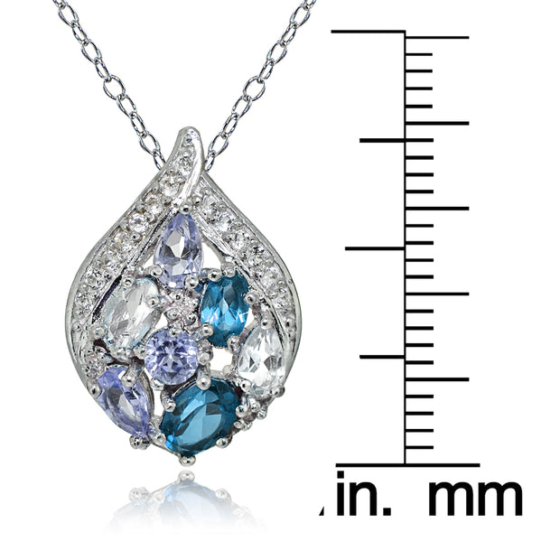 Sterling Silver Tanzanite, Aquamarine, London Blue and White Topaz Cluster Tonal Teardrop Necklace