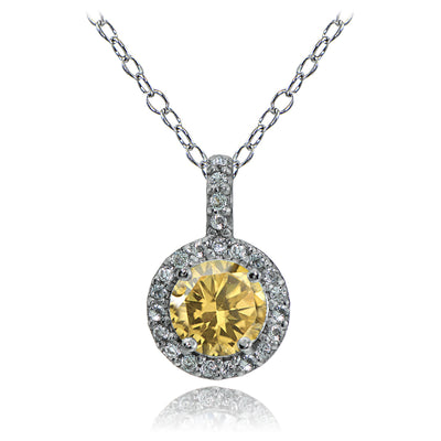 Sterling Silver Citrine and White Topaz Halo Necklace