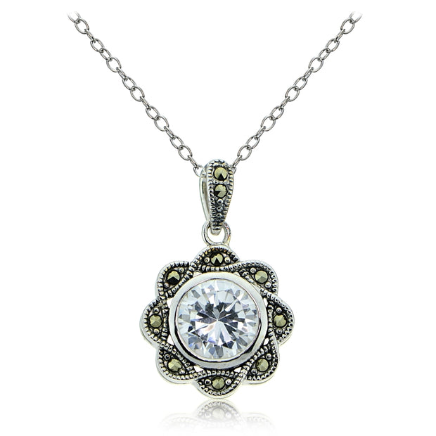 Sterling Silver Marcasite and Cubic Zirconia Flower Pendant Necklace
