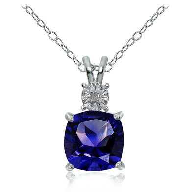 Sterling Silver Created Blue Sapphire and Diamond Accent Cushion-cut Necklace