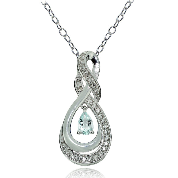 Sterling Silver Aquamarine and White Topaz Infinity Twist Teardrop Necklace
