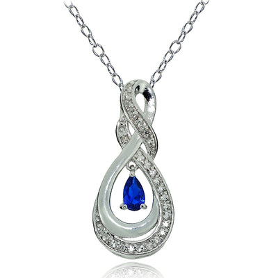 Sterling Silver Created Blue Sapphire and White Topaz Infinity Twist Teardrop Necklace