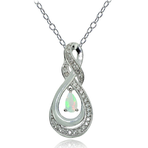 Sterling Silver Ethiopian Opal and White Topaz Infinity Twist Teardrop Necklace
