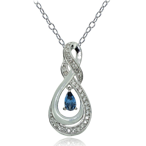 Sterling Silver London Blue Topaz and White Topaz Infinity Twist Teardrop Necklace