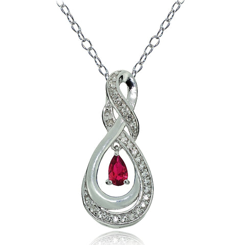 Sterling Silver Created Ruby and White Topaz Infinity Twist Teardrop Necklace