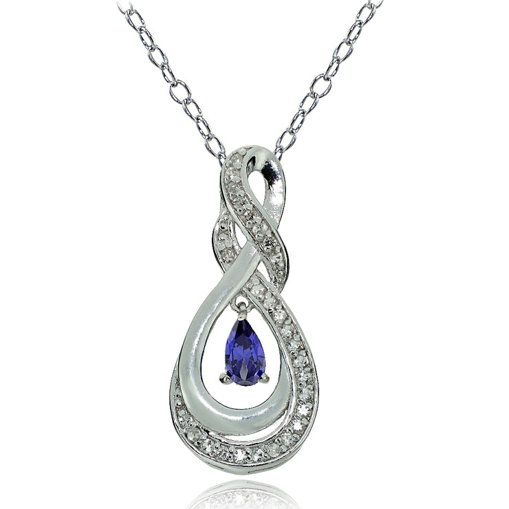 Sterling Silver Tanzanite and White Topaz Infinity Twist Teardrop Necklace