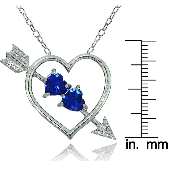 Sterling Silver Created Blue Sapphire and White Topaz Heart & Arrow Necklace