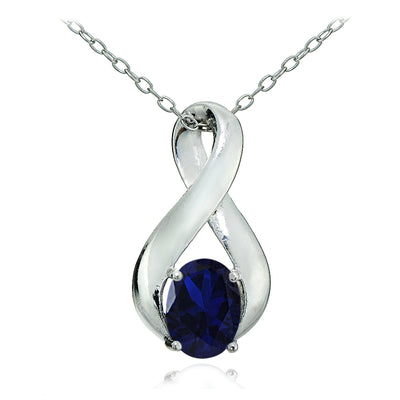 Sterling Silver Created Blue Sapphire Polished Infinity Necklace