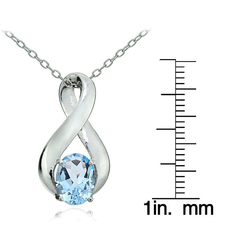 Sterling Silver Blue Topaz Polished Infinity Necklace