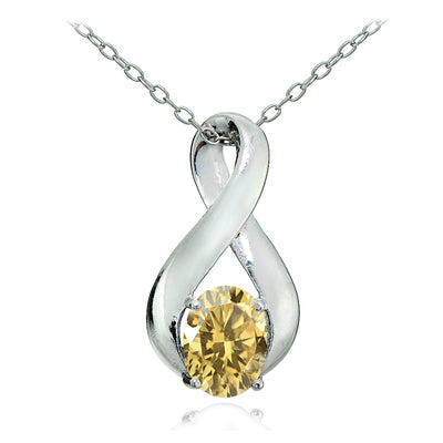Sterling Silver Citrine Polished Infinity Necklace