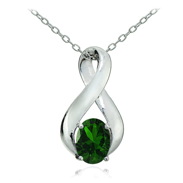 Sterling Silver Created Emerald Polished Infinity Necklace