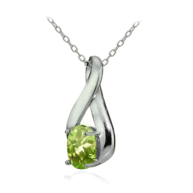 Sterling Silver Peridot Polished Infinity Necklace