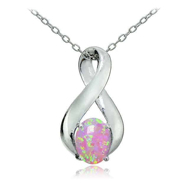 Sterling Silver Created Pink Opal Infinity Necklace