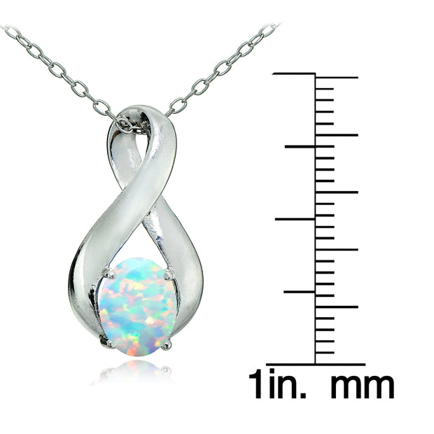Sterling Silver Created White Opal Infinity Necklace
