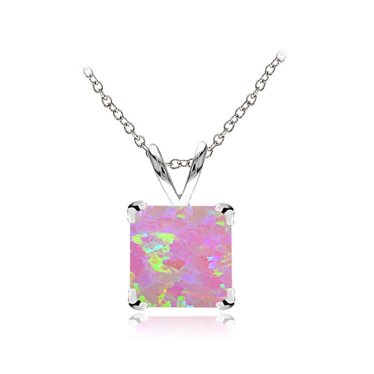 Sterling Silver Created Pink Opal 7mm Square Solitaire Necklace