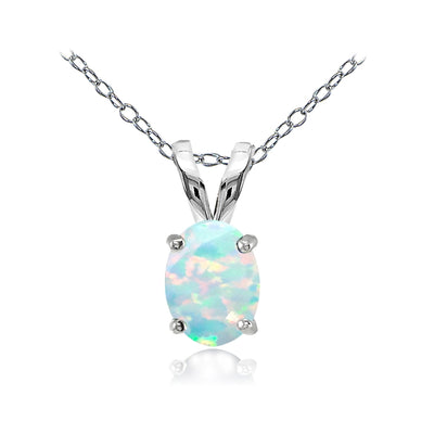 Sterling Silver Created White Opal 8x6mm Oval Solitaire Necklace