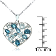 Sterling Silver London Blue & Blue Topaz Cluster Heart Tonal Necklace