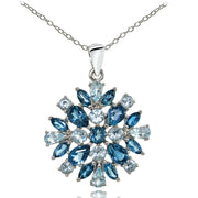 Sterling Silver London Blue Topaz & Blue Topaz Cluster Starburst Necklace