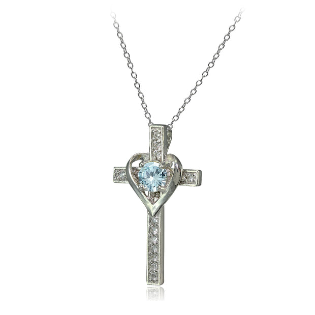 Sterling Silver Aquamarine & White Topaz Heart in Cross Necklace