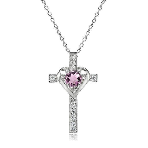 Sterling Silver Created Alexandrite and White Topaz Heart in Cross Necklace for Women Girls