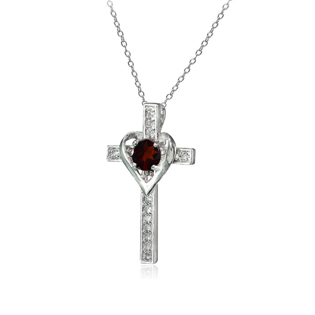 Sterling Silver Garnet and White Topaz Heart in Cross Necklace for Women Girls