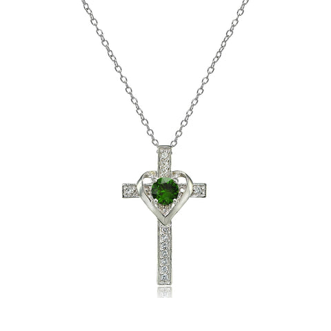 Sterling Silver Created Emerald & White Topaz Heart in Cross Necklace